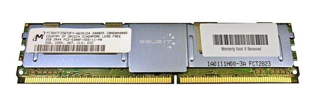 Memory RAM 1x 2GB Micron ECC FULLY BUFFERED DDR2 667MHz PC2-5300 FBDIMM | MT36HTF25672FY-667D1D4